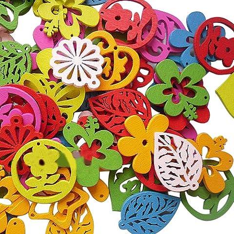 Pandahall 1Bolsa Mixto Color Lovely Hollowed-out colgante, botones de madera, acerca de 25mm de diámetro, 100piezas/bolsa