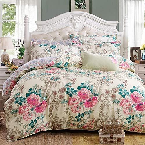 SHJIA Classic Bettwäscheset weiße Blume Bettwäsche 4er Set Bettwäscheset Pastoral Bettlaken AB Seitenbettbezug weiß 180x220cm -