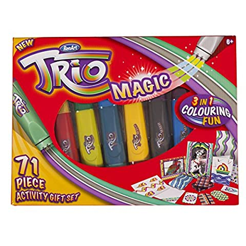 RenArt Trio Magic 71 Piece Kids Drawing Colouring Creative Activity Art Gift Set 3 in 1 Pens Children's Colour Play