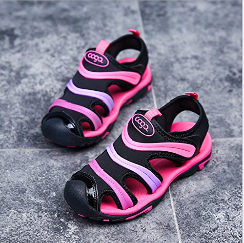 Sommer Strand Geschlossene Sandalen Klettverschluss Outdoor Wanderschuhe Ultraleicht Breathable Schuhe Flach Unisex Kinder Jungen Mädchen Schwarze Rose