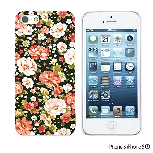 OBiDi - Flower Pattern Hardback Case / Housse pour Apple iPhone SE / Apple iPhone 5S / 5 - Multicolor Floral Shapes Pink and White Roses