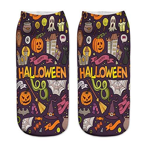 Malloom impresión de la calabaza de Halloween Calcetines ocasionales lindos del negocio Calcetines 3D de la impresión de la calabaza de Halloween 3D (C)