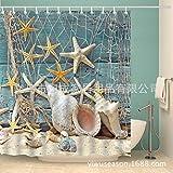 ZQ@QXPolyester Digitaldruck Netze, Seesterne, Badewanne Vorhang, 180*180 cm.Duschvorhänge
