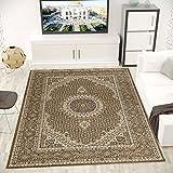 VIMODA Teppich Klassisch Gemustert Kreis sehr dicht gewebt Orient Muster Top Qualität BRAUN 120x170 cm
