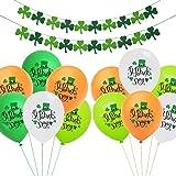 PIXHOTUL St. Patrick's Day Decoraciones de Fiesta, Trébol Trébol Pancartas y Globos con Forma de Trébol de Hojas para Suminis