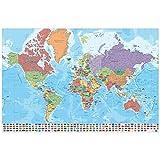 Grupo Erik GPE5127 Poster Mappa Mundo Ita Fisico Politico, carta, Multicolore,  91 x 61,5 x 0,1 cm