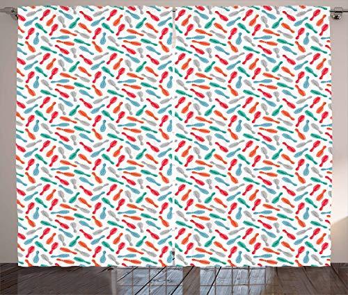 stikaler Gardine, Aquarell Skittles, Schlafzimmer Kräuselband Vorhang mit Schlaufen und Haken, 280 x 245 cm, Mehrfarbig ()