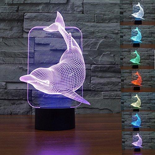 3d delfin nachtlicht illusion lampe 7 farbe ändern, führte an usb - tabelle geschenk kinder spielzeug dekor und weihnachten zum valentinstag - geschenk