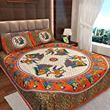 #4: Ahmedabad Cotton Basics Jaipuri Collection 136 TC Cotton Double Bedsheet with 2 Pillow Covers - Orange, Blue and Green
