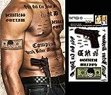 TATTOO ID XXL GANGSTAR Rap Hip Hop Gun phrases billet dollar tatouage ephemere temporaire hypoallergénique Fabriqué en FRANCE 1 planches 22cm x 14,5cm Homme Femme