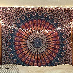 Multi-colored Mandala Tapestry Indian Wall Hanging, Bedsheet, Coverlet Picnic Beach Sheet, Superior Quality Hippie Wall Tapestry or Bedspread in Organic Cotton (Blue Golden, Double(230x215cms))