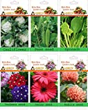 alkarty 3 vegetable and 3 flower seeds kit-5 (20 seeds each)