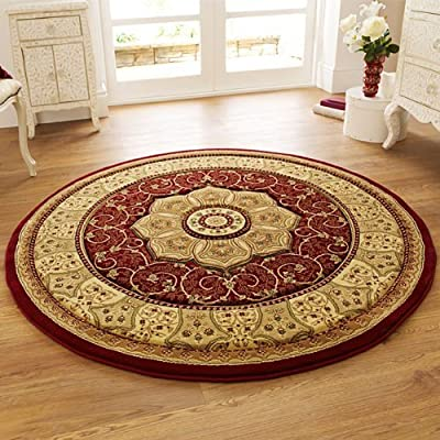 Think Rugs Heritage 4400 Traditional Hand Carved Round Rug, Red, 150 x 150 Cm - low-cost UK light store.
