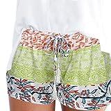 MOIKA Damen Hot Pants Sommer Shorts Hohe Taille Kurze Hosen Casual Hose Freizeithose Hosenrock Leichte in Viele Muster (M,Grün)