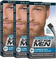 Just For Men Mustache & Beard Brush-In Color Gel, Light Brown (Pack o
