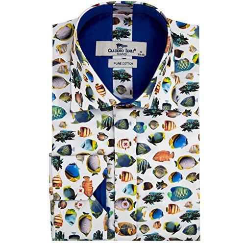 Claudio Lugli Fisch Drucken Herren Hemd Cp6239 Large White (Manschette-hemd White Collar)