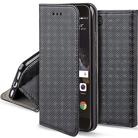 Huawei P8 Lite 2017 Hülle Flip case Schwarz - Moozy® Dünne magnetische Bookstyle Klapphülle mit Standfunktion und Silikon