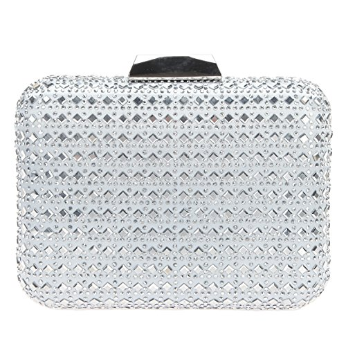Bonjanvye Bling Crystal Rhinestone Clutches for Women Evening Clutch Bag Wedding Party Silver