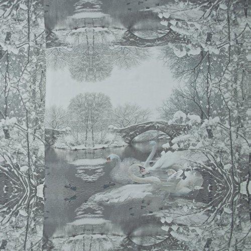 MIRABLAU DESIGN Stoffverkauf Seide Voile romantischer Winter Druck in grau Tönen (1-176M), 0,5m