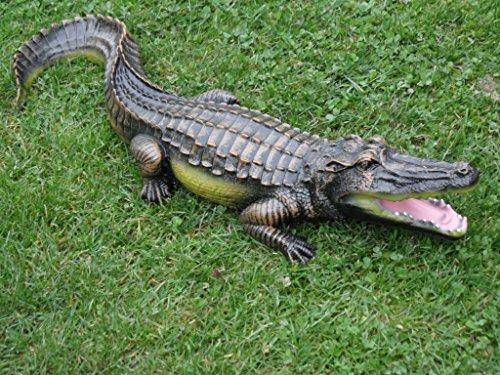 Krokodil Figur verschieden größen (wahlweise 69cm oder 117cm) Deko Garten Gartenfigur Alligatoren Kaiman (Mehrfarbig) Reptil Gartendeko für Teich für Innen und außen Schlange Tiere Gartenzwerg (Krokodil 69cm) (Krokodil Schlange)