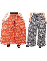 Fashion Store Women's 1 Cotton & 1 Rayon Stylish Printed Full Flair Multi-Colored Plazo (Free Size, Set Of 2) - B0774P1HR3