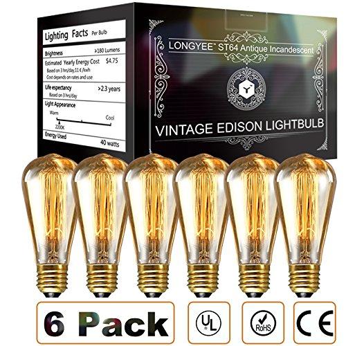 longyee Vintage ST64 E27 Edison Lampadina 40 W Dimmerabile, Antico Filamento in Tungsteno, Anello Quirrel, 220 V, 6 Pezzi