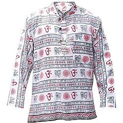 Shopoholic Fashion para hombre OM diseño hippie camisa de abuelo blanco blanco Medium