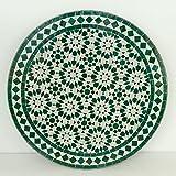 Casa Moro Orientalischer marokkanischer Mosaiktisch Gartentisch Mosaikkunst Bistrotisch Handmade Mosaik Tisch Kunsthandwerk Beistelltisch Ø 70 cm Ankabut Weiß aus Marokko