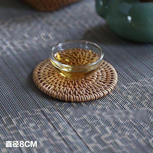 XBR en rotin en rotin Théière Tapis de tapis de tapis de tapis de table en rotin tissé d'automne, circular, Brown 8cm