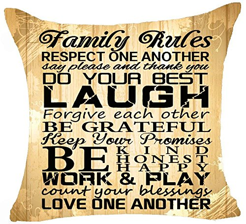 hat pillow Funny Sayings Family Rules Respect One Another Count Your Blessings Love One Another Cotton Linen Decorative Throw Case Cushion Cover Square 18