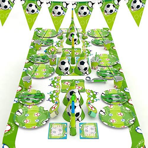 XREXS Fußball Party Set 16 Stile 90 Packungen Fußball Geburtstag Set, Geburtstag Partydekorationen, Partydekorationen, Fußball Partyset Deko für Kindergeburtstag Fußball-thematische Partydekor