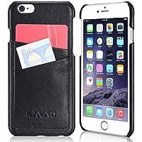 """KAVAJ iPhone 6s/iPhone 6 Leder Hülle Case """"Tokyo"""" Schwarz aus echtem Leder mit Visitenkartenfach. Dünne hochwertige Echtleder Cover Tasche Schutzhülle Handyhülle Etui Bumper für Apple iPhone6s"""