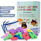 BOOGA BABY Badebuchstaben-Set bestehend aus 2 Alphabeten (um z.B. MAMA schreiben zu können) und 10 Zahlen | Mit hochwertigem Badespielzeug-Organizer | Badespielzeug | Ideales Badewannen-Spielzeug