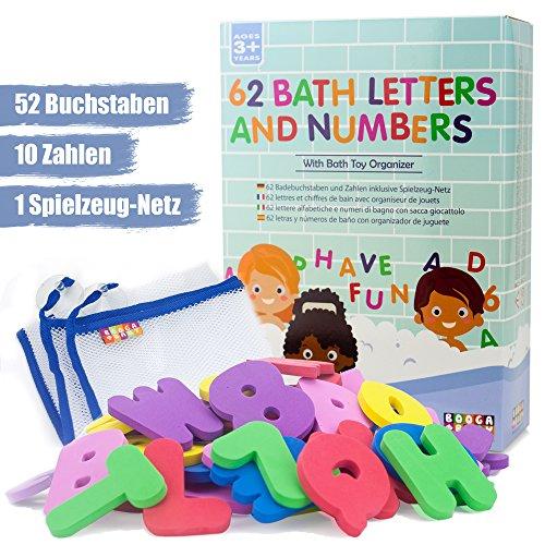 BOOGA BABY Badewannenspielzeug Badebuchstaben Set mit 2 Alphabeten, 10 Zahlen und Bad Organizer
