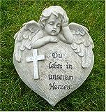 *Trauerengel Grabschmuck Herz mit Engel *Du lebst in unserem Herzen* B 14,5 cm