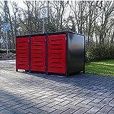 3 Mülltonnenboxen Modell No.6 für 240 Liter Mülltonnen / RAL 7016 Anthrazit Front Rot /witterungsbeständig durch Pulverbeschichtung / mit Klappdeckel und Fronttür Rot