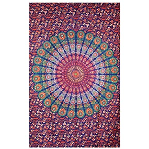 Handicrunch indian Droplet Style Twin Wall Hanging Tapestry, Wall Decorator, Indian Mandala Beach Blanket