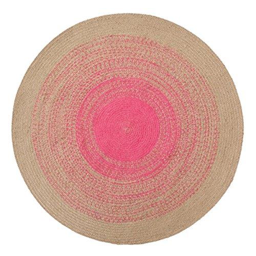 miaVILLA Teppich Jemina Rund Jute Wolle Baumwolle Pink Natur Ø 140 cm