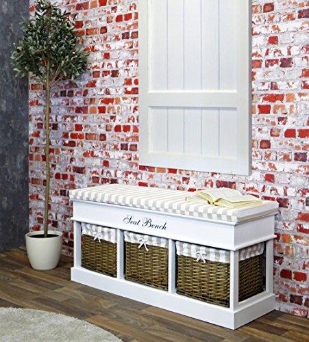 Körben Sitzbank (Sitzbank - Gaderobenbank - Sitztruhe weiß, Landhausstil , mit 3 Körben und Ablagen, Sitzkisen, 104 x 50 cm)
