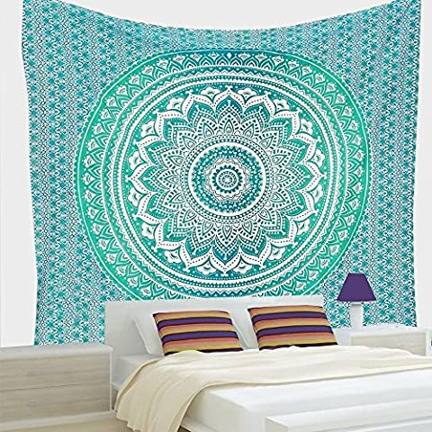 Indian Hippie Bohemian Psychedelic Ombre Mandala Twin-size-54x72 Tapestry-green