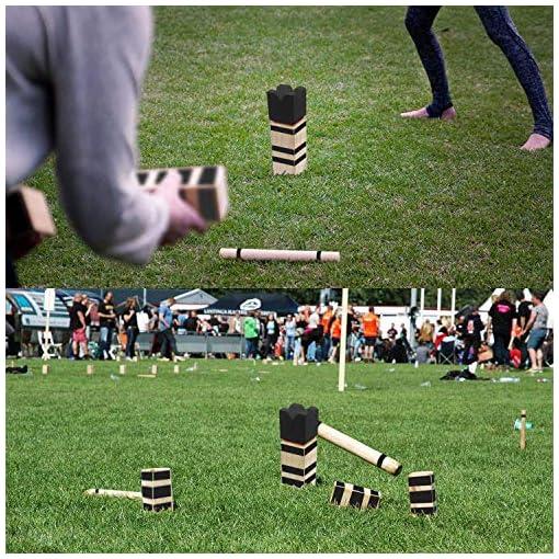 Jolitac-Kubb-Spiel-Wikingerspiel-Holzspiel-Wurfspiel-Outdoor-Spiele-Schwedenschach-Wikinger-Holzspiele-Geschicklichkeitsspiel-Game-fr-Drauen-Komplettset-mit-Tasche-Ideal-fr-Wiese-Strand-Garten