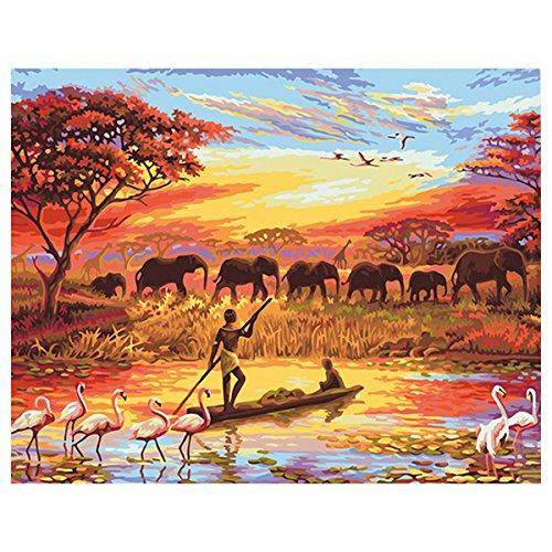 shukqueen DIY Ölgemälde, Erwachsene 's Malen nach Zahlen Kits, Acryl Gemälde afrikanischen Steppe 40,6x 50,8cm, Frameless,Just Canvas (Afrika Afrikanische Kunst)