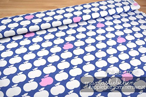Mamasliebchen Sweat-Stoff Meterware apple bite #blue - rose (0,5 m x 1,5 m) (Blue Rose-muster)