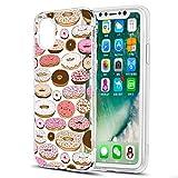 Eouine Coque iPhone XS, Coque iPhone X, Etui en Silicone 3D Transparente avec Motif Peinture [Anti Choc] Housse de Protection Coque pour Téléphone Apple iPhone XS/X - 5,8 Pouces (Donuts)