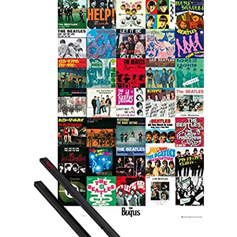Poster + Sospensione : The Beatles Poster Stampa (91x61 cm) Singles E Coppia Di Barre Porta Poster Nere 1art1®