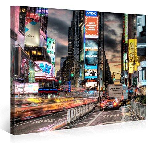 Gallery of Innovative Art - Times Square New York Taxi Cabs - 100x75cm - Larga stampa su tela per decorazione murale - Immagine su tela su telaio in legno - Stampa su tela Giclée - Arazzo decorazione murale