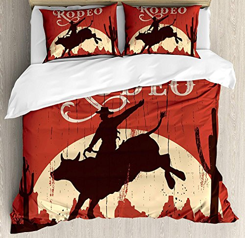 Vintage 3 PCS Bettbezug Set, Rodeo Cowboy Reiten Bull Holz altes Schild Western Wilderness bei Sonnenuntergang Bild, Bettwäsche Set Quilt Tagesdecke für Kinder / Jugendliche / Erwachsene / Kinder, Re (Kinder-western-bettwäsche)