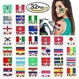 Hemore 2018 WM Fußball Tattoos 32 Land Fans Tattoo Fahnen Set