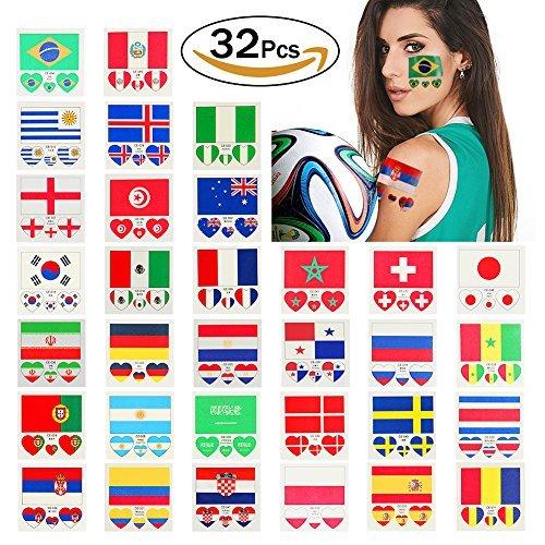 ational, Tattoo Aufkleber, Sticker 2018vorübergehenden Flagge National für Gesicht für Fanatiker der Fußball FIFA World Cup 32Teams mit 32PCS (Jedes Halloween Kostüm Der Welt)