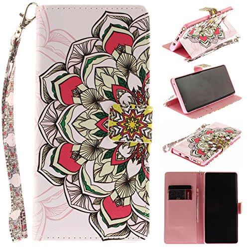 Ooboom® iPhone X Hülle Flip PU Leder Handy Tasche Case Cover Schutzhülle Wallet Standfunktion Kartenfach für iPhone X - Iris Totem Blume Bunt
